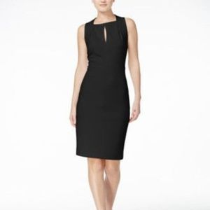 Calvin Klein Keyhole Scuba Sheath Dress Blk